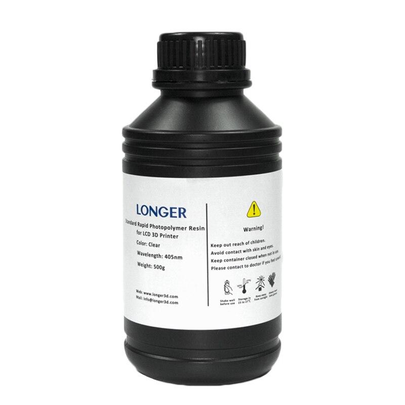 1/2/3/4 Bottles LONGER SLA UV 3D Printer Resin 500ML 405nm Wavelength Resins White Gray Black Resins 3D Printing Material