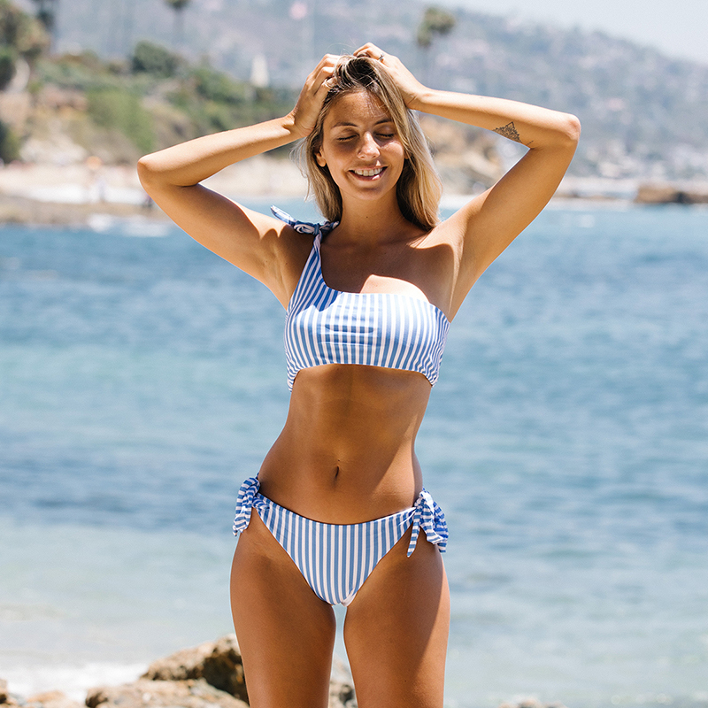 One Shoulder Women Swimsuit Swimwear Bathingsuit Bikini Beach Summer Bandage Bra