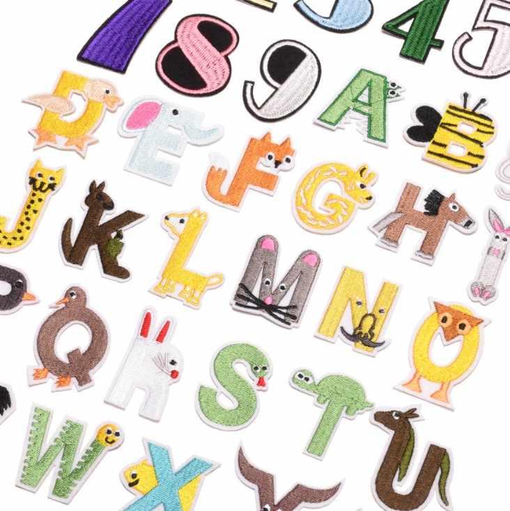 Parche con letras de dibujos animados para niños, aplique bordado con letras del alfabeto, para coser en la placa con nombre