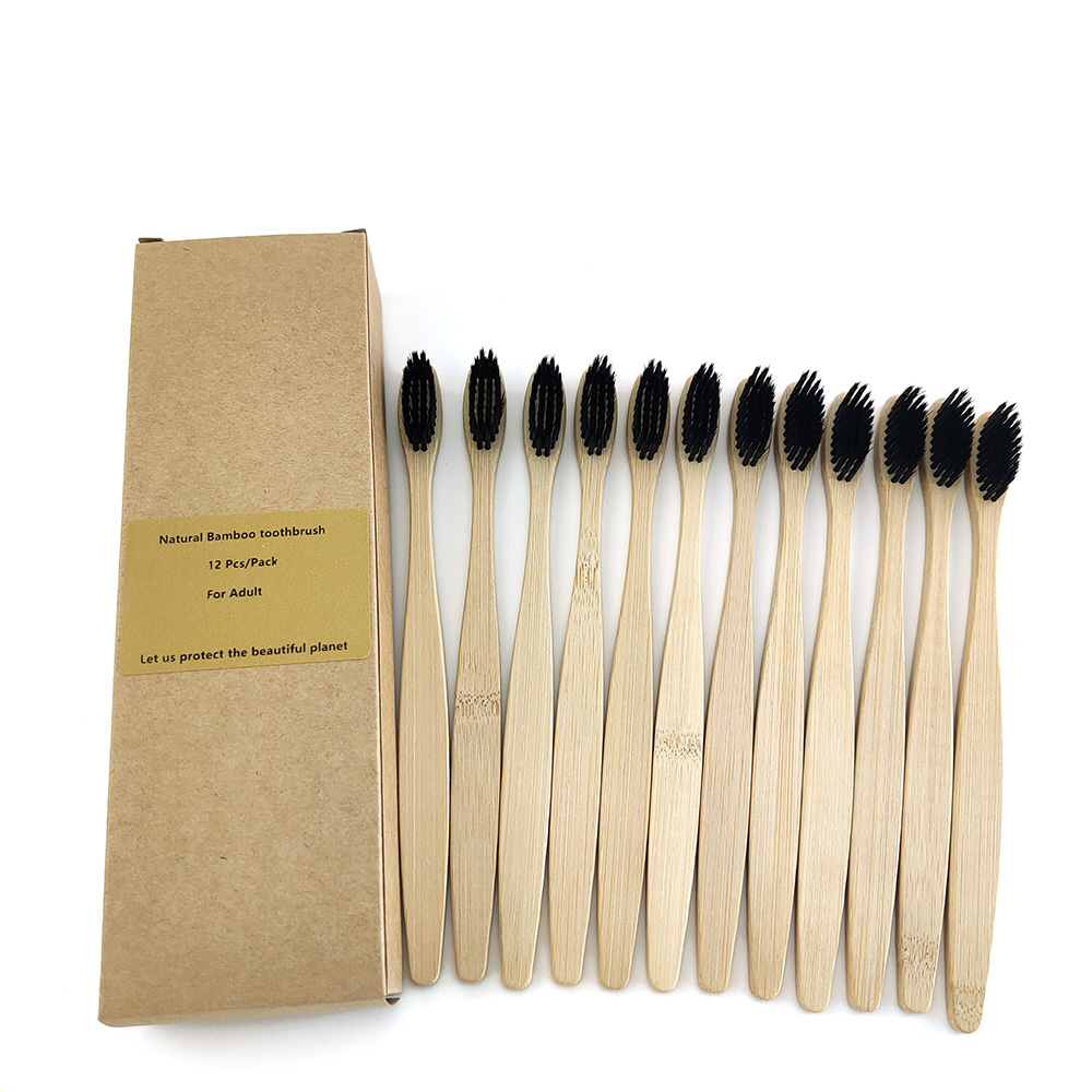 12 Pcs Bamboo Charcoal Toothbrush Soft Bristles Teethbrush Eco Friendly Oral Care Natural Tooth Brush For Adults