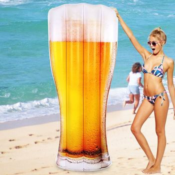 2018 New Giant Inflatable Beer Pool Float 2017 Newest Bottle Lounger Floatie Raft for Children Adult Swimming Ring Party Toy