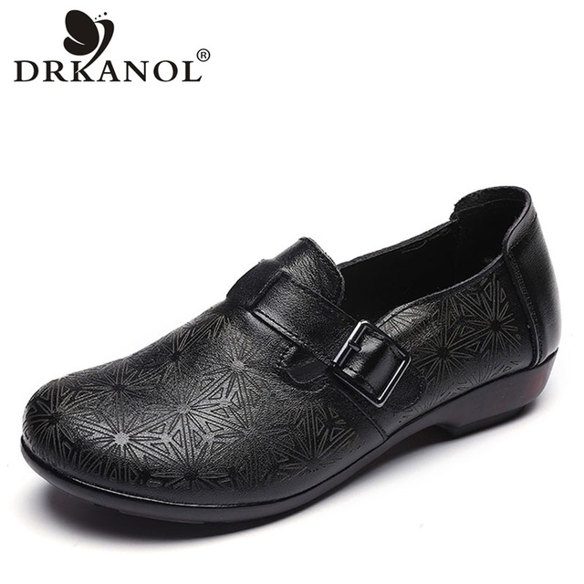 DRKANOL 2020 wiosenne buty damskie oryginalne skórzane wkładane mokasyny damskie płaskie buty damskie płaski baleriny moda pojedyncze buty H802