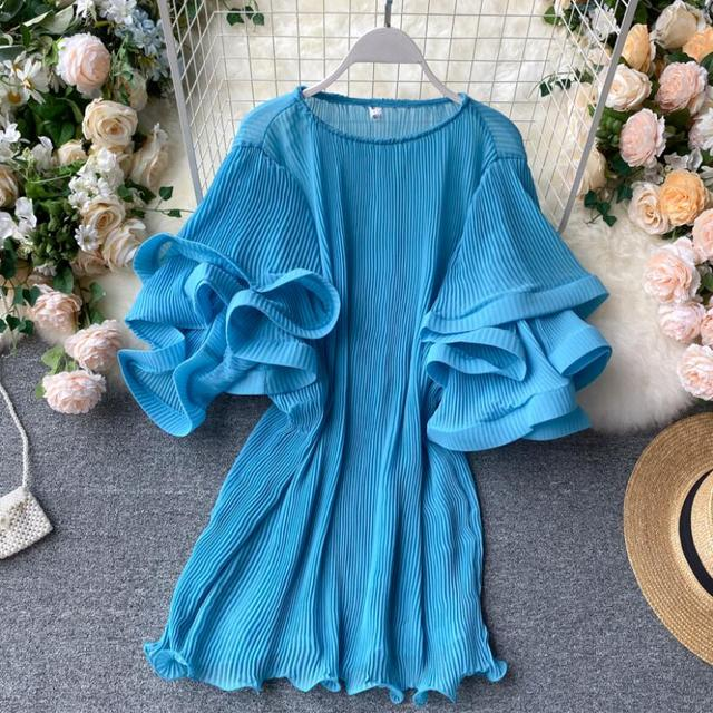 2020 Summer O-Neck Women Ruffles Chiffon Blouse Female Flare Sleeve Shirt Ladies Shirts Solid Color Women Tops And Blouses 1