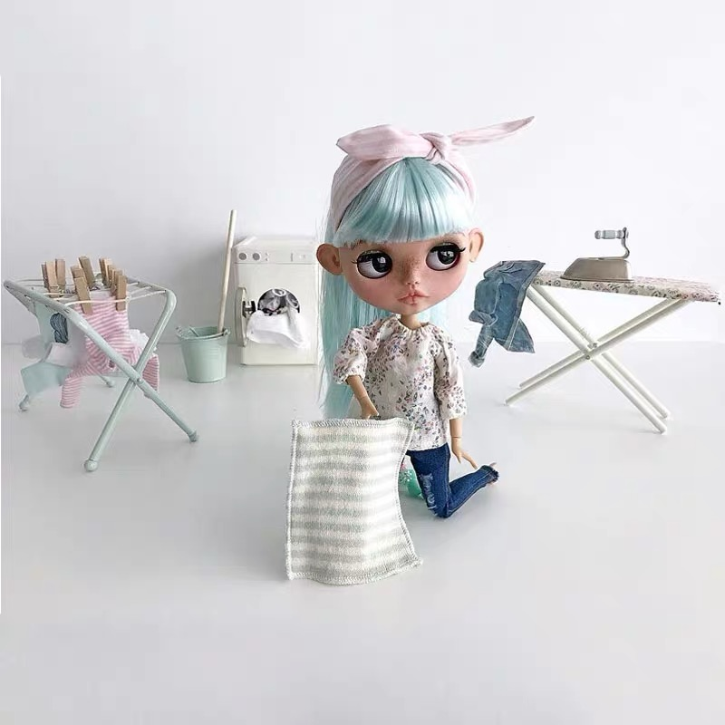 Nordic Metal House Children's Toys Simulation Mini Washing Machine Doll House Furniture Accessories For Boys And Girls