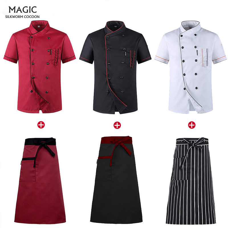 Unisex Restaurant Uniform Shirt Breathable Double Breasted Chef Short Sleeve Cook Jacket+cap+apron Works Clothes Men Wholesale