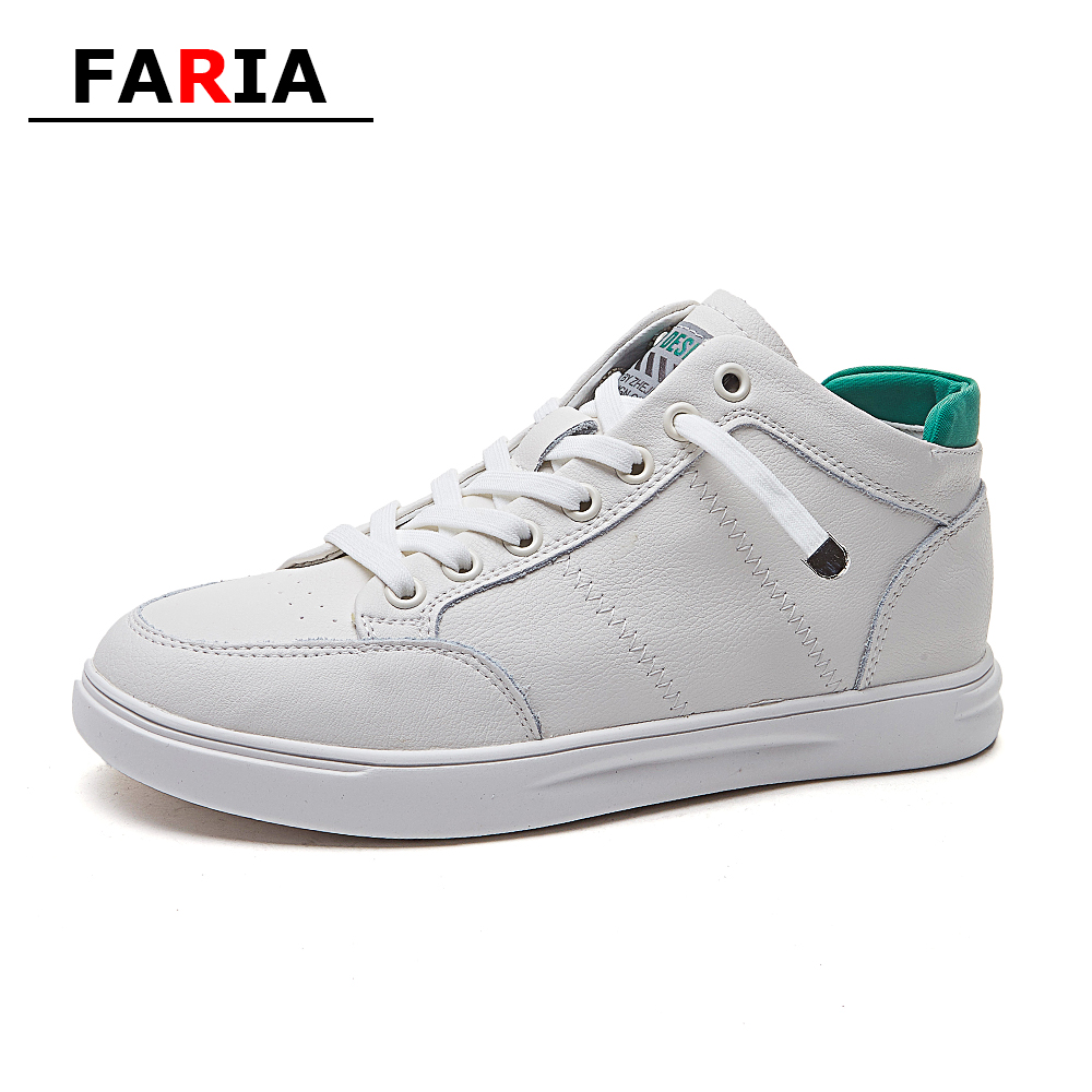 2020 spring/autumn leather off white lace-up board shoes High-top Casual chunky flat shoes women student nurse loafers women's