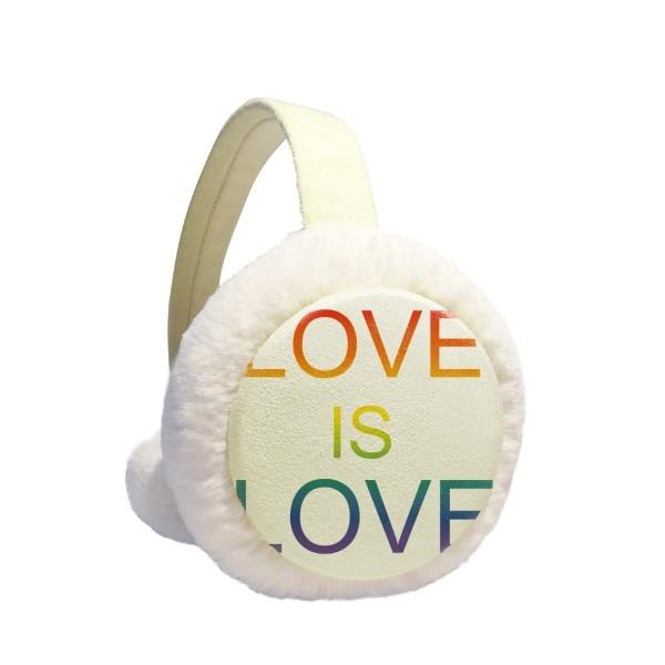 LGBT Rainbow Flag Love Is Love Winter Earmuffs Ear Warmers Faux Fur Foldable Plush Outdoor Gift