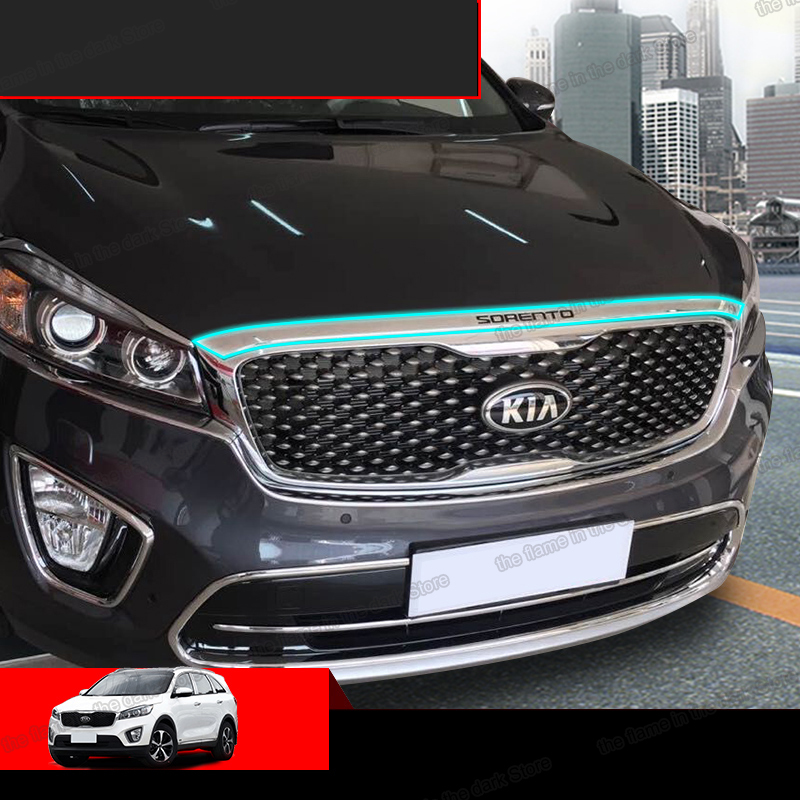 lsrtw2017 abs shiny siver car head hood trims panel for <font><b>kia</b></font> sorento prime 2015 2016 2017 UM auto styling image