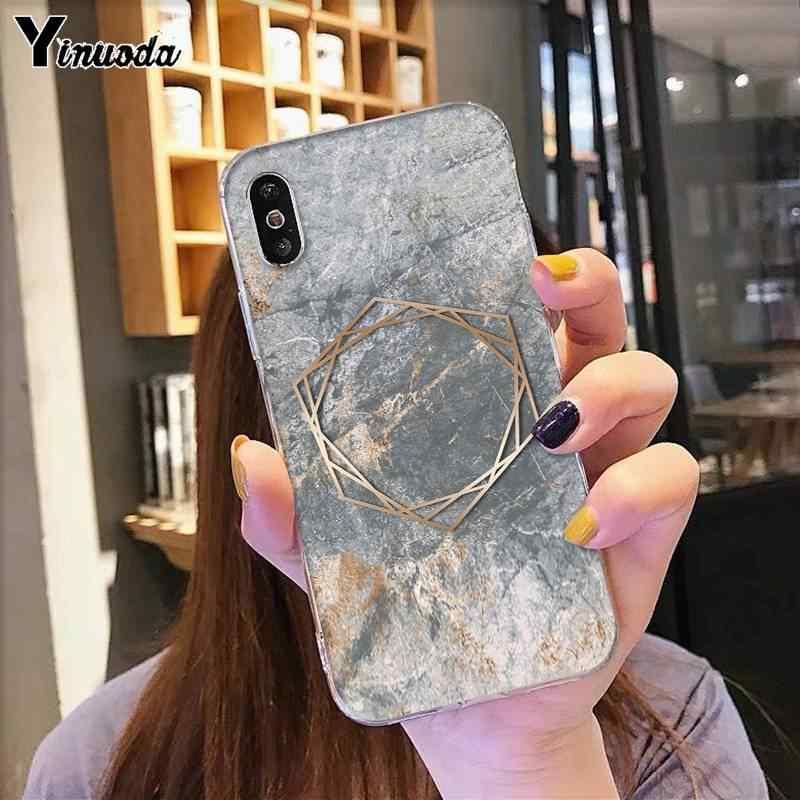 Yinuoda Oro Rosa Grigio e marrone oro marmo Cassa Del Telefono Personalizzato per iphone SE 2020 11 pro XS MAX 8 7 6 6S Plus X 5 5S SE XR