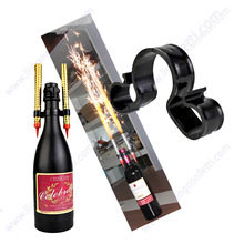 6pcs Double Champagne Bottle Sparkler Nightclub Party Candle Firework Birthday Safety Sparkling Ice Fountain Plastic Clip Holder