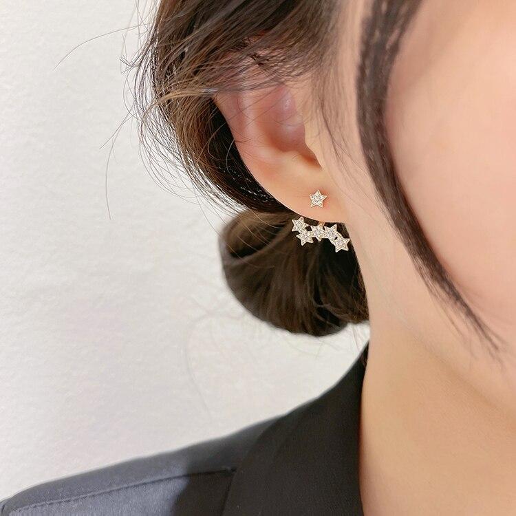 Korea New Design Fashion Jewelry Exquisite Copper Inlaid Zircon Multiple Star Earrings Elegant Women's Wedding Accessories