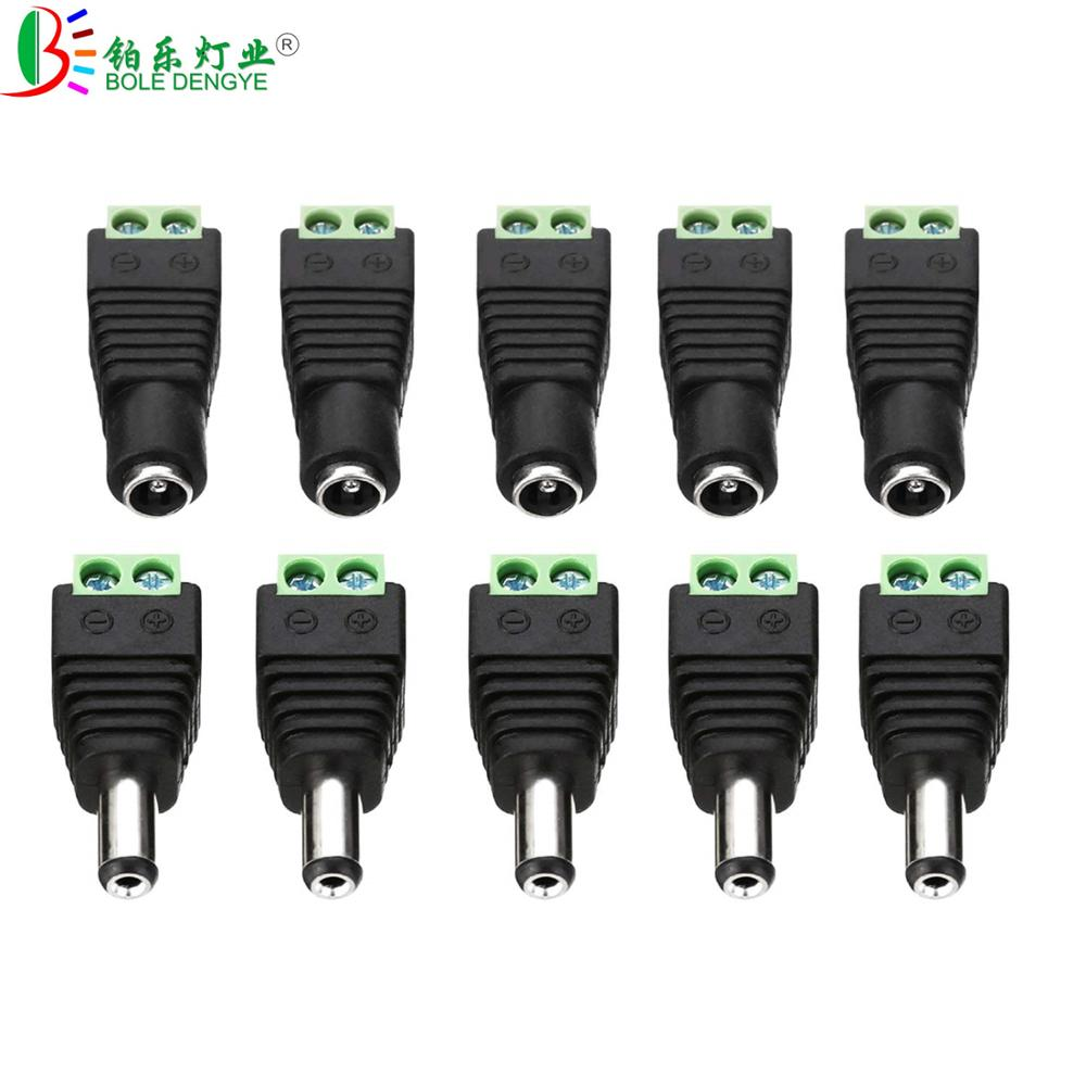 5pcs Female Male DC Power Cable Connector 5.5mm*2.1mm Jack Plug Connection For 5050 5630 3528 Single Color LED Strip CCTV Camera
