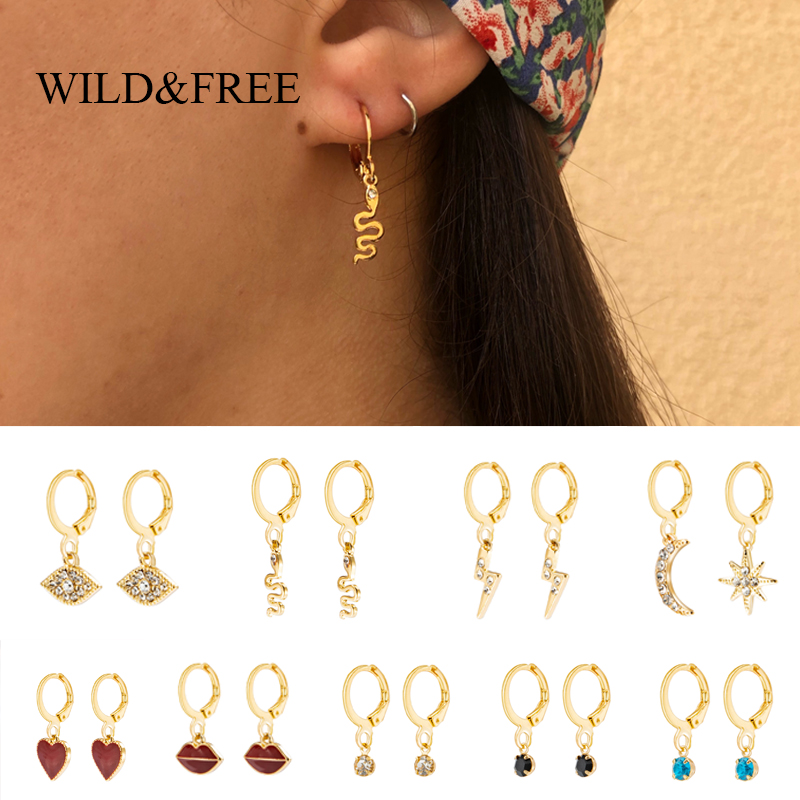 Wild&Free Women Geometric Hoop Earrings Cartilage Earring Small Star Heart Lighting Snake Eye Gold Charm Hoops Jewelry Gift
