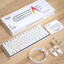 Kemoove snowfox 61 chave interruptor de teclado mecânico 60% nkro bluetooth pbt keycaps sem fio teclado de jogos com fio tablet pc vs dk61
