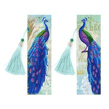 2PCS peacock Diamond Painting Bookmarks-Diamond for Adults 5D DIY Bookmarks with Tassel Arts Crafts Set Rhinestone Gift