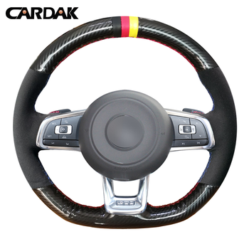 CARDAK ألياف الكربون جلد أسود الجلد المدبوغ سيارة غطاء عجلة القيادة ل Volkswagen جولف 7 GTI جولف R MK7 VW بولو GTI