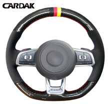 CARDAK Carbon Fiber Leather Black Suede Car Steering Wheel Cover for Volkswagen Golf 7 GTI Golf R MK7 VW Polo GTI цена 2017