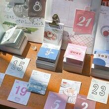 Mini Calendario de escritorio de 2021 días, Material de papel, imágenes de estilo Ins, notas de escritorio, Material creativo para escuela y oficina, 365