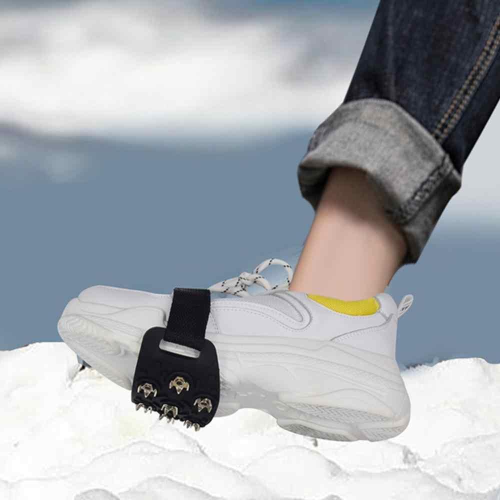 1 çift 7 çıtçıt Anti-Skid buz tutucu başak kışlık kaymaz kar Spikes sapları Cleats üzerinde ayakkabı kapakları buz