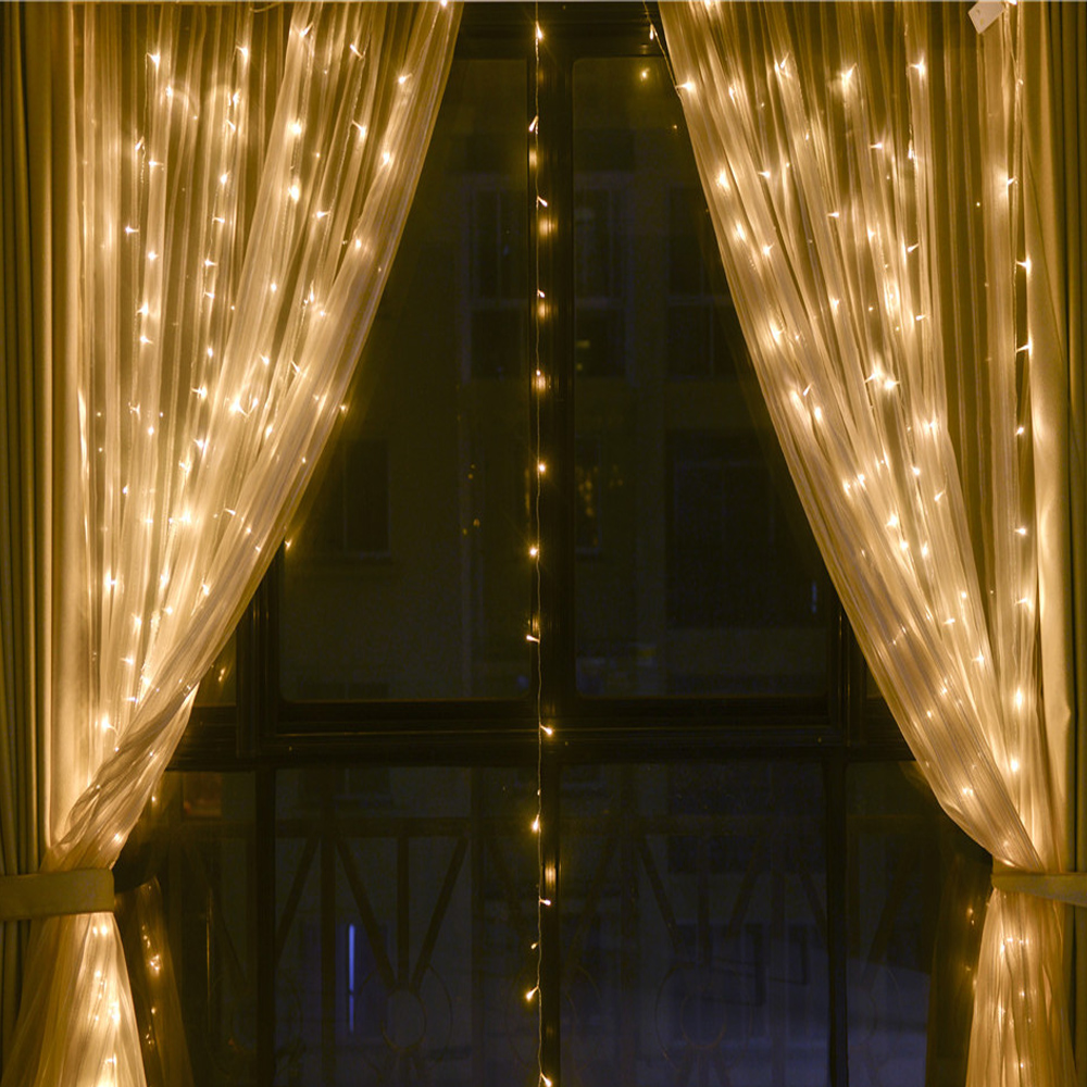 New Year 3M X 3M Garland LED Curtain Icicle String Light Outdoor 8 Modes Fairy For Christmas Holiday Wedding Home Party