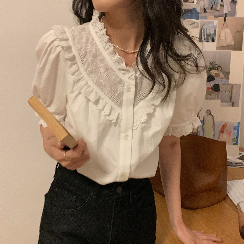 Ha860fe88a0b44d6faf6d8fe41ec8645aW - Summer V-Neck Short Sleeves Lace Patchwork Solid Blouse