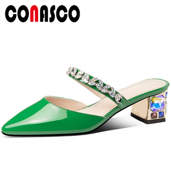 CONASCO Fashion Elegant Concise Women Sandals Summer New Mules Crystal Thick Heels Slippers Genuine Leather Casual Shoes Woman