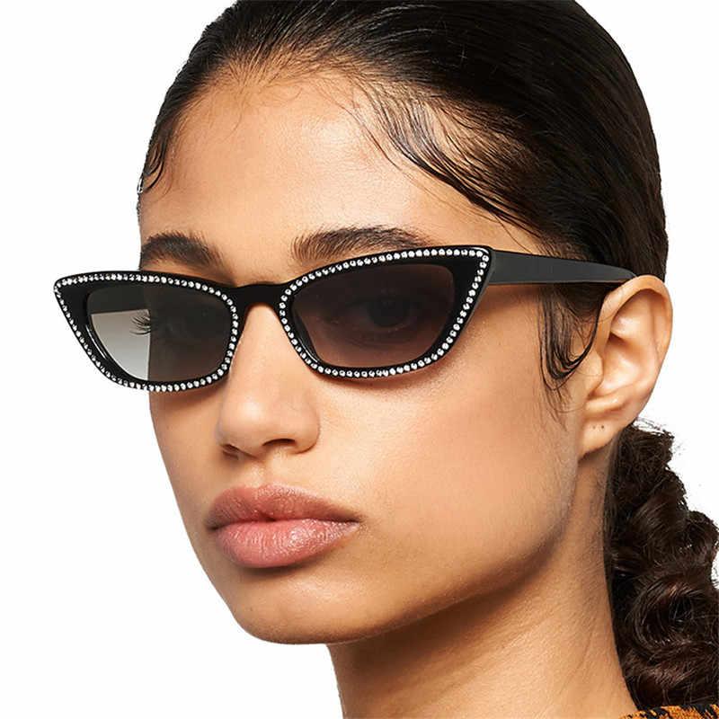Маленькие солнцезащитные очки с кошачьим глазом, женские солнцезащитные очки с имитацией бриллиантов в стиле ретро, модные солнцезащитные очки UV400