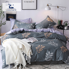 Liv-Esthete Fashion Leaf Plants Bedding Set Soft Printed Duvet Cover Pillowcase Double Queen King Bed Linen Bedspread Flat Sheet