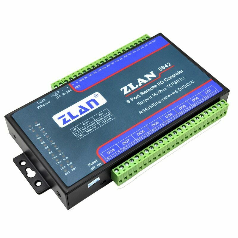 ZLAN6842 Modbus RS485 RJ45 Ethernet 8 Channels DI AI DO I/O Module RTU Board