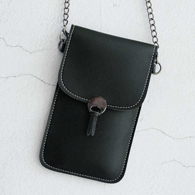 Mini bolsa de metal para celular, bolsa portátil impermeável para telefone celular, sacola de ombro para meninas