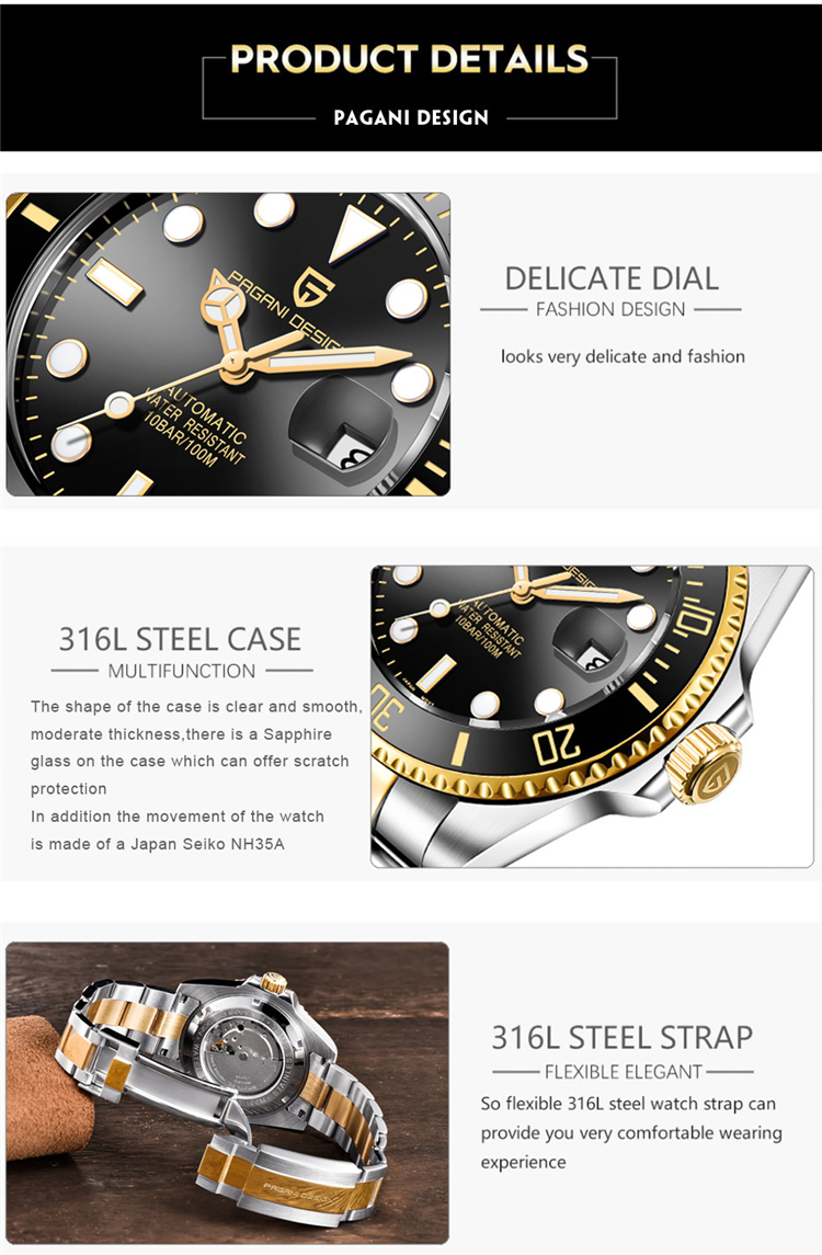 Ha86146aa972a4d31b22b3af95204a5b13 PAGANI Design Brand Luxury Men Watches Automatic Black Watch Men Stainless Steel Waterproof Business Sport Mechanical Wristwatch