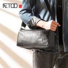 Мужская сумка через плечо aetoo из воловьей кожи повседневная