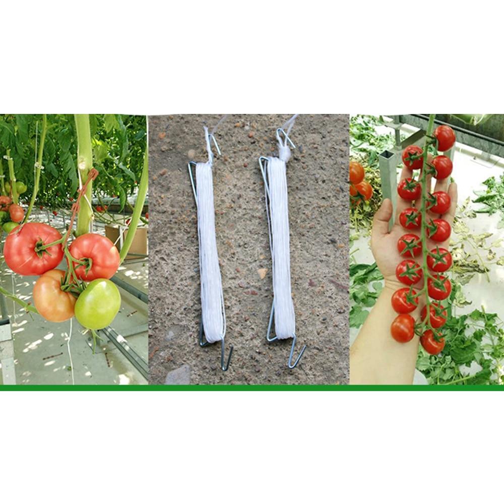 Garden Plant Support Tomato Support J Hook Tomato Plant Holder Binder Vegetables Clamp Anti-crush Hooks Length 10m