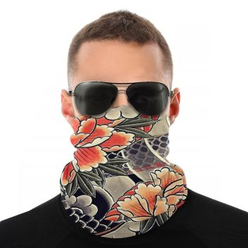 Japanese Snake And Peonies Flower Scarves Neck Face Mask Tube Scarf Balaclava Bandana Multi-functional Headwear Biking Hiking