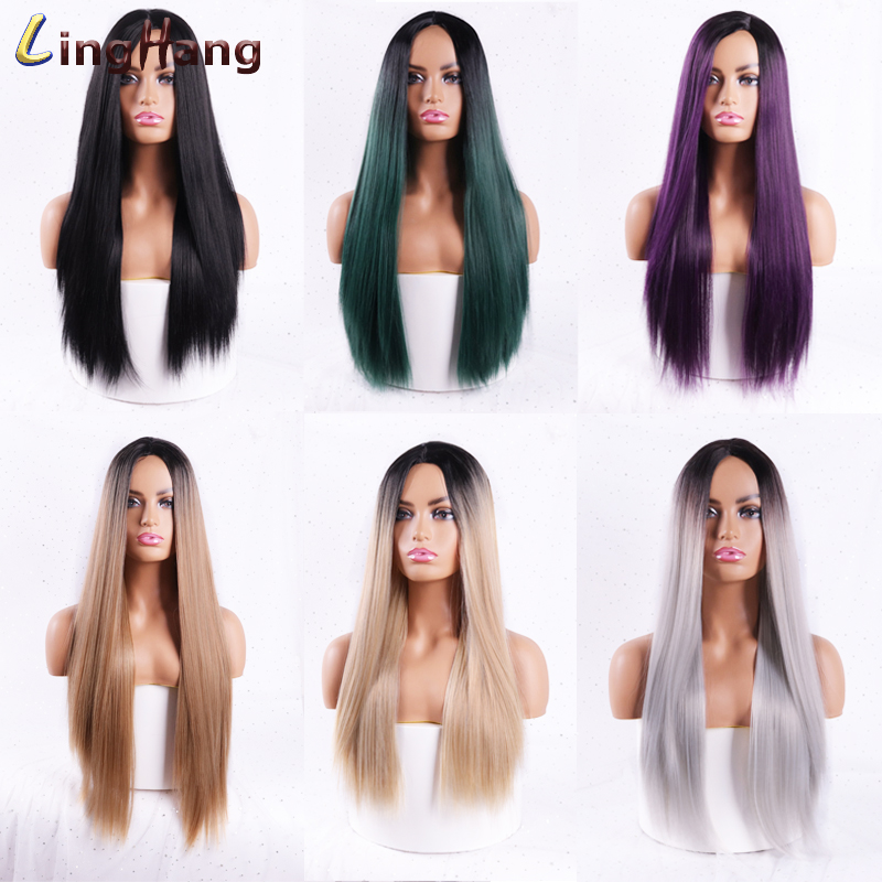 Ha861b8a269b04656bf5c2c38db80cf14e - Linghang Ombre Blue Straight Long Synthetic Wigs For Women Black Pink Wigs 24 inch 11 Color can be Cosplay Wigs