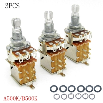3 pack A500K/B500K push pull guitar control sound/volume potentiometer for Gibson Les Paul Potentiometer guitar volume switch japan alps for motor potentiometer 4 joint b50k for harman caton avr40 amplifier sound volume potentiometer
