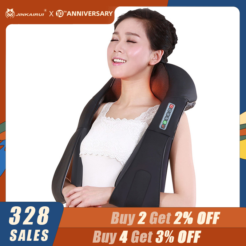 JinKaiRui Electric Shiatsu Cervical Neck Massage Relax Body Roller Massage Acupressure Health Massageador With Infrared Heating