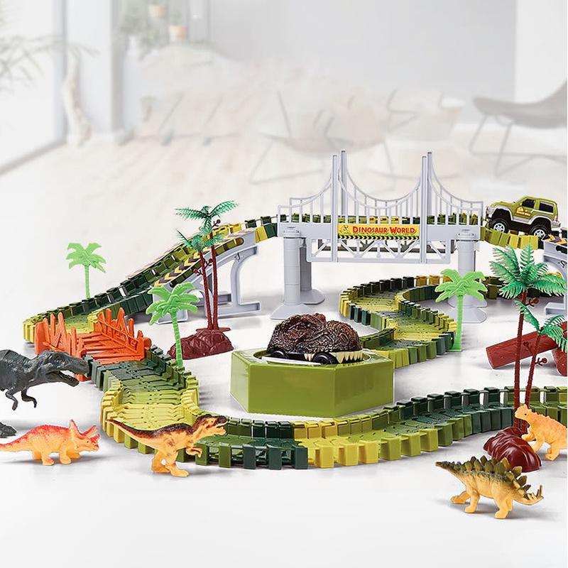 Railway Magical Racing Track Dinosaur Toys Set DIY Bend Flexible Electric Dinosaur Car Magicl Tracks Car Toy Race Tracks For Boy