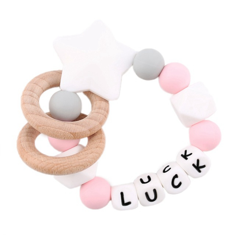Bite Bites 1PC Baby Silicone Teether Customize Name Bracelet Silicone Star Beads Chewing Wooden Ring Rodent Baby Teether Rattles