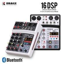 4 kanäle Audio Sound Mixing DJ Konsole USB mit 48V Phantom Power 16 DSP Effekte
