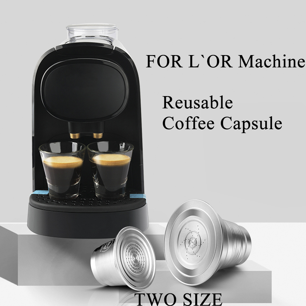 Reusable XXL Double & One Coffee Capsule Cup For L'Or Barista LM8012 Machine Stainless Steel Coffee Filters Pod For LOR Machine