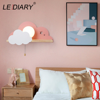 LEDIARY Nordic Macaron Cloud Wall Lamp Kids Boy Girl Bedroom Bedside Lamp Creative Wooden Rope Switch Shelf Reading Wall sconce