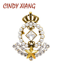 CINDY XIANG 2 colors choose pearl crown brooches for women vintage star baroque style brooch pin 2 colors choose autumn new 2019 цена