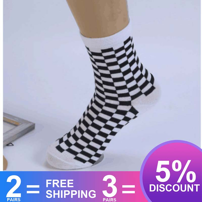 Korea Harajuku Trend Women Checkerboard Socks Geometric Checkered Socks Men Hip Hop Cotton Unisex New Novelty Socks SA-8