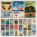 Металлический знак, декор для пляжа, жестяной знак с ржавчиной, настенные художественные наклейки, Гавайские романтические постеры для бар...