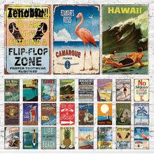 Sinais de metal do vintage decoração ferrugem estanho arte da parede adesivos hawaiian romance cartazes para bar pub e clube quarto arte da parede decoração