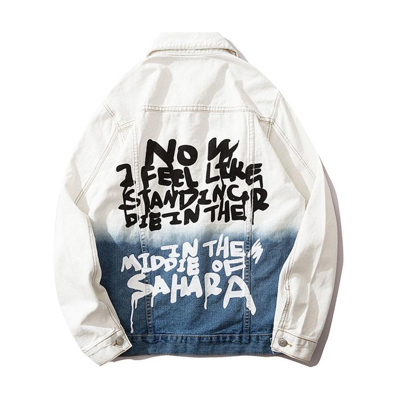 Mcikkny High Street Gradient Color Jeans Jackets Men Letter Graffiti Denim Jackets For Male Streetwear (13)