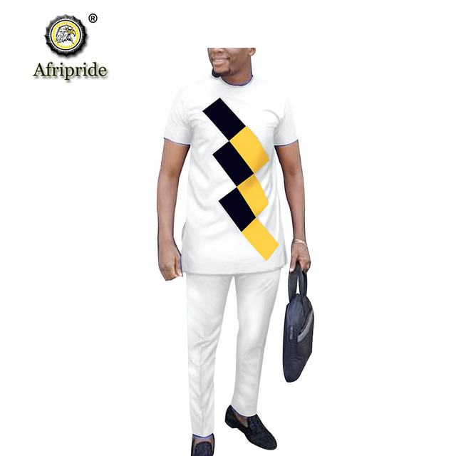 African Clothes for Men 2020 Traditional Clothing Outfits Wear Shirt and Pant 2 Piece Suit Dashiki Attire AFRIPRIDE S1916042