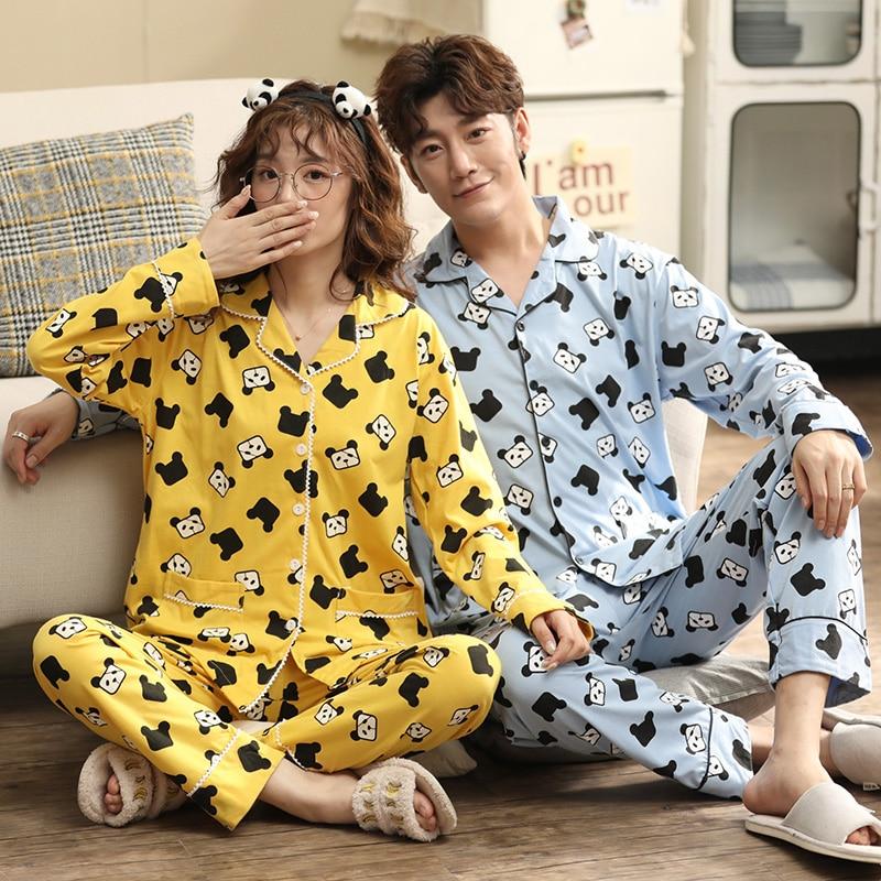 Unisex Adult Panda Couple Pajamas Men Pajamas Set Full Cotton Female Sleepwear Autumn Cute Animal Cartoon Home Service Pyjamas