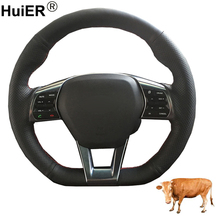 Hand Sewing Car Steering Wheel Cover Volant Funda Volante Top Layer Cow Leather For Hyundai Sonata 9 2015 2016 2017 (3-Spoke)